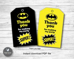 Batman Thank You Tags, Batman Party, Superhero Party, Batman party bag tags, Batman lego, batman birthday, batman printables, batman tags