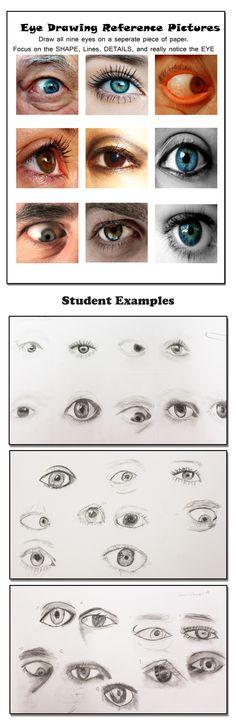 Art 1 Eye drawings.   Learning to draw the eye worksheet. Myrtle Beach High School. #MBHSart