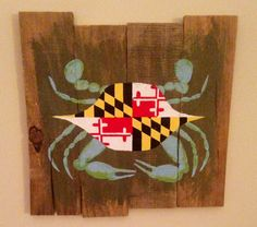 Hey, I found this really awesome Etsy listing at https://www.etsy.com/listing/213651260/maryland-flag-blue-crab-pallet-art