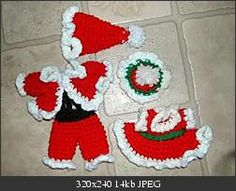 Santa Clothes Ornaments   These patterns are all in jpeg foremat.  free patterns from crochetville