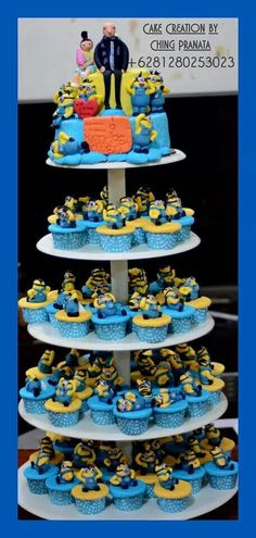 Minion cup cakes Minion cake Despicable me cake Creation by Ching Pranata