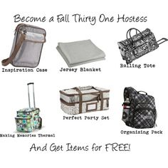 Our fall Thirty One catalog is filled with fantastic Hostess Exclusive items. It is easier than you think!  Get any of these 6 items at a reduced price.  Host a $1200 party or higher and get three of them for FREE!!  My new fave is the perfect party set...it fits two 9x13 pans, is fulling insulated and comes with matching serving utensils.  Contact me today to set up your party at   http://www.mythirtyone.ca/BarbRichmire/