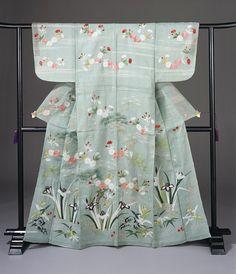 Japanese Embroidery Kimono Meiji-era katabira via The Los Angeles County Museum of Art - Japanese Textiles, Japanese Patterns, Japanese Fabric, Japanese Prints, Traditional Kimono, Traditional Outfits, Art Chinois, Summer Kimono, Art Japonais