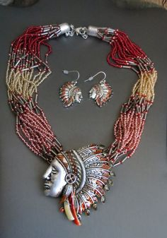 Cowgirl Bling INDIAN CHIEF Warrior Silver Headdress Native necklace set Gypsy #icon