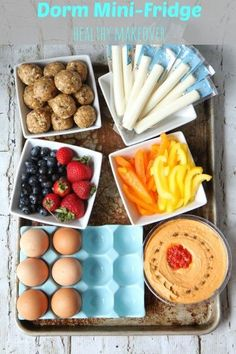 Dorm Mini-Fridge Healthy Makeover... and a good recipe for easy, healthy No-Bake Energy Bites! Good to eat snacks. Good for any size fridge really. Research indicates that we tend to eat healthier when our food is already cut and prepared ready to eat in the fridge (like snacks). What do you think? I know I'm more likely to eat better stuff if I can just grab and go.