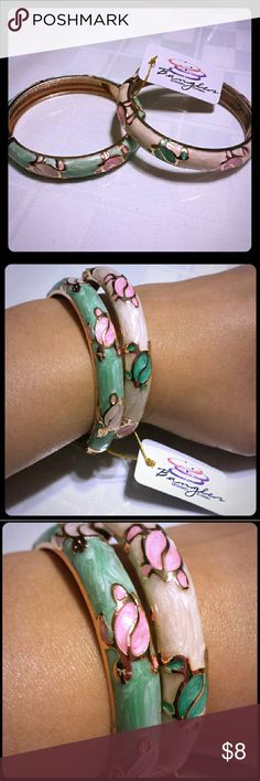 """Hawaiian Turtle Design Bangles ~2 Bangles~   Colors Soft Mint and Pearl  Designed in Hawaii Turtle Design (Medium Width)  Accessorize with these stylish bangle bracelets!  Measures approximately 2-3/8"""" in diameter, and  3/8"""" wide.  Spring center closure makes for easy wearing.  *Price Firm  Final Sales / No Returns For Hygienic Purposes Hawaiian Jewelry Jewelry"""