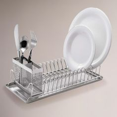 Small Compact Vintage Kitchen Sink Dish Drainer Stainless Metal Drying Rack Tray