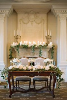 This French-themed wedding features a gorgeous Oscar de la Renta wedding dress, a pair of Chanel sandals and flowers in a mix of blushes, ivories, and soft greens.