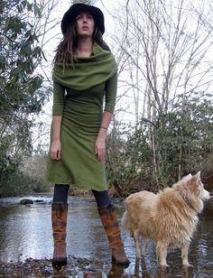 Gaia Conceptions Organic Clothing - Super Cowl Below Knee Fleece Dress, $155.00 (http://www.gaiaconceptions.com/super-cowl-below-knee-fleece-dress/)