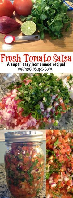 Tomato Recipes Homemade Tomato Salsa from Garden Veggies - Look no farther for a fresh taste of summer! Cilantro and tomatoes explode in happy unison for this Fresh Tomato Salsa Recipe! Tomato Salsa Recipe, Fresh Tomato Recipes, Fresh Tomato Salsa, Veggie Recipes, Mexican Food Recipes, Healthy Recipes, Appetizer Recipes, Pico Salsa Recipe, Recipes Dinner