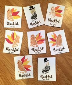 Share memories of baby's first (or wh… DIY Thanksgiving footprint art crafts. Share memories of baby's first (or whichever) thanksgiving with these thankful for you cards! Thanksgiving Art Projects, Thanksgiving Crafts For Toddlers, Holiday Crafts For Kids, Baby Christmas Crafts, Fall Crafts For Toddlers, Christmas Tables, Thanksgiving Activities, Nordic Christmas, Holiday Tables