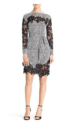 Your Wedding-Guest Dilemmas Solved in 27 Dresses: Dress this Lindsey Thornburg + Free People long lace baby doll dress ($432) up with metallic heels.  : Diane Von Furstenberg's Ernestina printed lace detail dress ($498) is both ladylike and sexy.