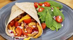 A Chicken Burrito Dish made from leftovers. A brilliant way to use up the last of yesterday's Chicken. Baby Tomatoes, Chicken Burritos, Grated Cheese, Side Salad, Rice Vinegar, Meal Planner, Healthy Options, The Help, Real Food Recipes