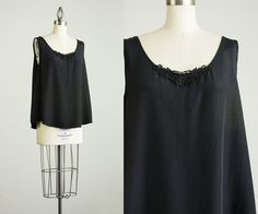 90s Vintage Black Slouchy Rayon Tank Top / Extra Large by decades, $28.00