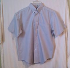 Roundtree & Yorke Medium Gray Houndstooth Men's Short Sleeve Button Dress Shirt #RoundtreeYorke