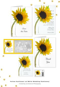 Pair these pretty Yellow Sunflower on White Wedding Stationery Products with the matching invitations to create a coordinated marriage set. Customize these elegant postage stamps, stickers, save the dates, photo cards and RSVP cards to suit your nuptial needs. These custom botanical wedding paper products feature a yellow sunflower blossom on the stem in a glass vase with a white background. Perfect for the bride and groom who are planning a summer or fall marriage. #sunflowerswedding