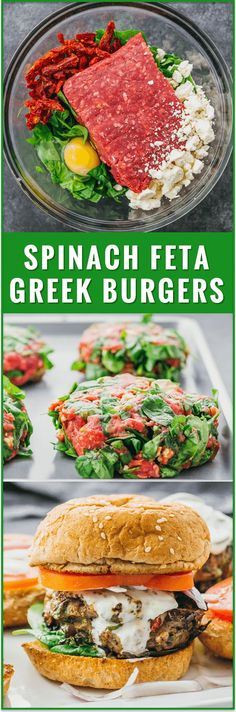 These healthy Greek burgers are made using ground beef mixed with spinach feta and sun-dried tomatoes plus drizzled with a delicious tzatziki sauce. easy recipe turkey garlic lamb chicken 21 day fix sides sauce seasoning toppings mediterrane Greek Recipes, New Recipes, Cooking Recipes, Favorite Recipes, Healthy Recipes, Recipes Dinner, Summer Recipes, Easy Recipes, Paleo Dinner