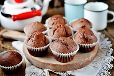 Biscuits, Chocolate Muffins, Homemade Chocolate, Mini Cupcakes, Breakfast, Cukor, Wooden Background, Food, Kitchens