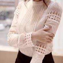 2015 Nova primavera de alta qualidade blusas femininas mulheres blusas plus size camisa das mulheres oco out lace Magro chiffon blusa 862B5(China (Mainland))