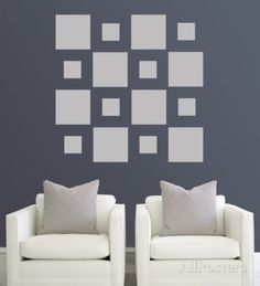Grey Squares Wall Decal at AllPosters.com