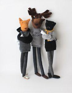 Custom animal cloth doll | personalized fox, panther, deer art dolls | cool animal man dolls | ooak male stuffed dolls | 'Aniumans' edition by FulBelSic on Etsy https://www.etsy.com/listing/208124751/custom-animal-cloth-doll-personalized