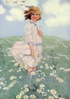 Jessie Wilcox Smith.  I think that this painting is entitled 'Spring' ~ although the breeze and the daisies definitely say summer