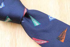 NWT New RUGBY Ralph Lauren Navy Multicolor Pennant Flags Skinny mens Silk Tie #RalphLauren #NeckTie