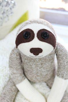 Etsy の Sock Monkey Sloth Doll Childs Toy by SockMonkeyBizzToyCo