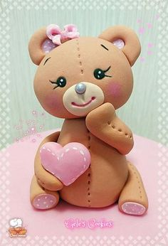 Lovely Lovely bear Lovely bear by Gele& Cookies - Fondant Cupcakes, Fondant Figures Tutorial, Cake Topper Tutorial, Fondant Cake Toppers, Fondant Animals Tutorial, Fondant Bow, Fondant Flowers, Cupcake Toppers, Cute Polymer Clay
