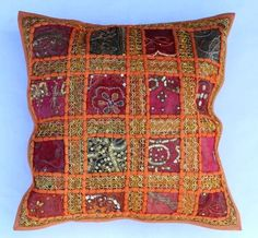 indian Handmade Patchwork cotton Cushion Cover Home Decor Pillow Cases KH113 #Handmade #Ethnic