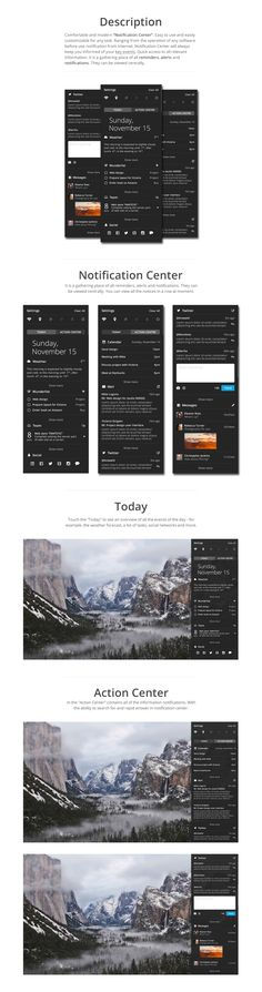 "Comfortable and modern ""Notification Center"". Easy to use and easily…"