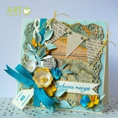 May your wishes come true - a card for 40th birthday - Scrapbook.com - Combine flowers, trim, canvas embellishments, punches and more for a variety of textures to create a beautiful card.