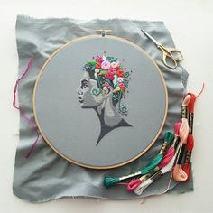 Digital Hand Embroidery Pattern: Flowers in Her Hair