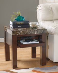 Ashley Kraleene T687-2 Signature Design Square End Table - Square End Table Featuring A modern stone finish that washes over the table top for a one of a kind finish that flows with any home decor