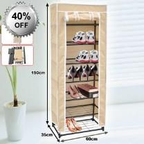 Beige 150cm Non Woven 7 Level Shoe Rack - 7 Tiers Steel - Piping Frame