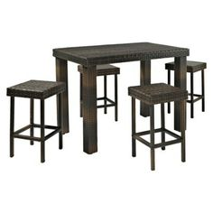 Palm Harbor 5-piece Wicker Bar Height Dining Furniture Set