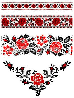 "Bottom one with red beads hanging down as a sternum tattoo ""Ukrainian embroidery pattern"" Folk Embroidery, Floral Embroidery, Beaded Embroidery, Cross Stitch Embroidery, Embroidery Patterns, Geometric Embroidery, Ukrainian Tattoo, Ukrainian Art, Cross Stitch Borders"