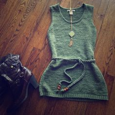 Green Top with wooden-beaded & braided Belt Excellent condition. No snags. Gorgeous blouse. Long, almost tunic. Boots for sale in a separate listing. Anthropologie Tops Blouses