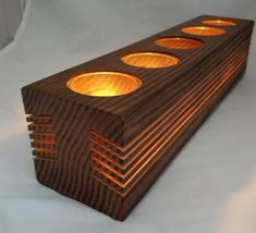 Large Wood Candle Holder - Centerpiece, Mantelpiece, Indoors or ...