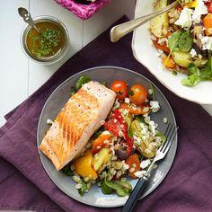 Salaatti paahdetuista kasviksista ja ohrasta