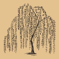 Weeping Willow Tattoo, maybe more wind blowing and leaves falling