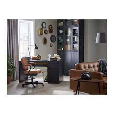 MALM Desk, black-brown, 55 A clean design that's just as beautiful on all sides – place it free-standing in the room or against a wall with cables neatly hidden inside. Use with other MALM products in the series for a unified look. Golden Brown, Black And Brown, Ikea Malm Desk, Drawer Inserts, Structure Metal, Black Desk, Under The Table, Style Retro, Furniture