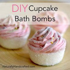 DIY Cupcake Bath Bombs with Pink Frosting
