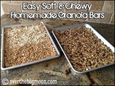 Easy Soft & Chewy Homemade Granola Bars - So Easy and so yummy!  From www.overthebigmoon.com
