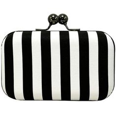 La Regale Vertical Stripe Minaudiere ($58) ❤ liked on Polyvore featuring bags, handbags, clutches, chain strap purse, la regale handbags, chain-strap handbags, stripe purse and la regale purse