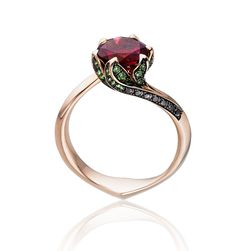 Tomasz Donocik Water Lilly Pad Ring in 18K Gold with Tsavorites and Diamonds (=)