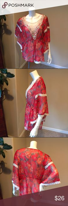 Free People L red water color sheer boho blouse Free People L red water color sheer boho blouse. Lovely top pair with skinny jeans and sandals this spring. Measurements will be posted soon Free People Tops Blouses