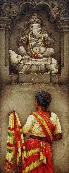 Indian Painting Painting - Saleswoman by Siva Balan Indian Women Painting, Indian Artist, Indian Artwork, Indian Art Paintings, Om Namah Shivaya, Art Drawings, Art Sketches, Indian Illustration, Lord Ganesha Paintings