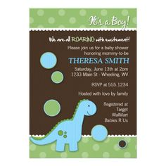 Roaring Dinosaur Baby Shower Invitations #dots #dinosaur #babyshower #boy #invitations #shower #party #newborn #mom #momtobe #baby #babies #custom #customized #personalized