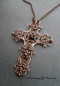 Anastasiya Ivanova ~ wire lace ~ Cross (copper, garnet, patina) rr 6.5 * 9cm  This ladies work is beautiful, visit her site to see more!